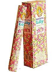 Lily Incense Sticksインドから – 120 Sticks – madeからNatural Scented Oil – Kanaiyaブランドby tikkalife