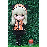 (ドーリア)Dollia ブライス 1/6ドール用 アウトフィット 悪魔 パンク ハロウィン ドレスセット パーカー ドクロ 4点セット (ジャケット、シャツ、スカート、ネックレス) ネオブライス マネキン買い ドール 人形