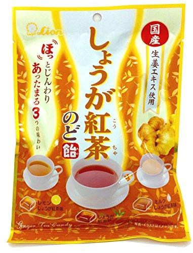 ライオン菓子 しょうが紅茶のど飴 しょうが紅茶味レモンしょうが紅茶味ミルクしょうが紅茶味 84g 1袋