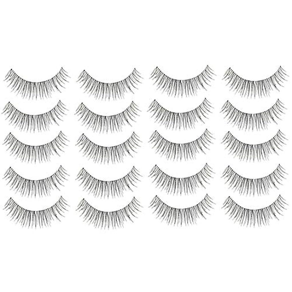 通常湿った多数の美容アクセサリー 10ペア217クリスクロス透明なステムナチュラルメイクアップラッシュチャーミングな長いシックな黒い偽のまつげ 写真美容アクセサリー