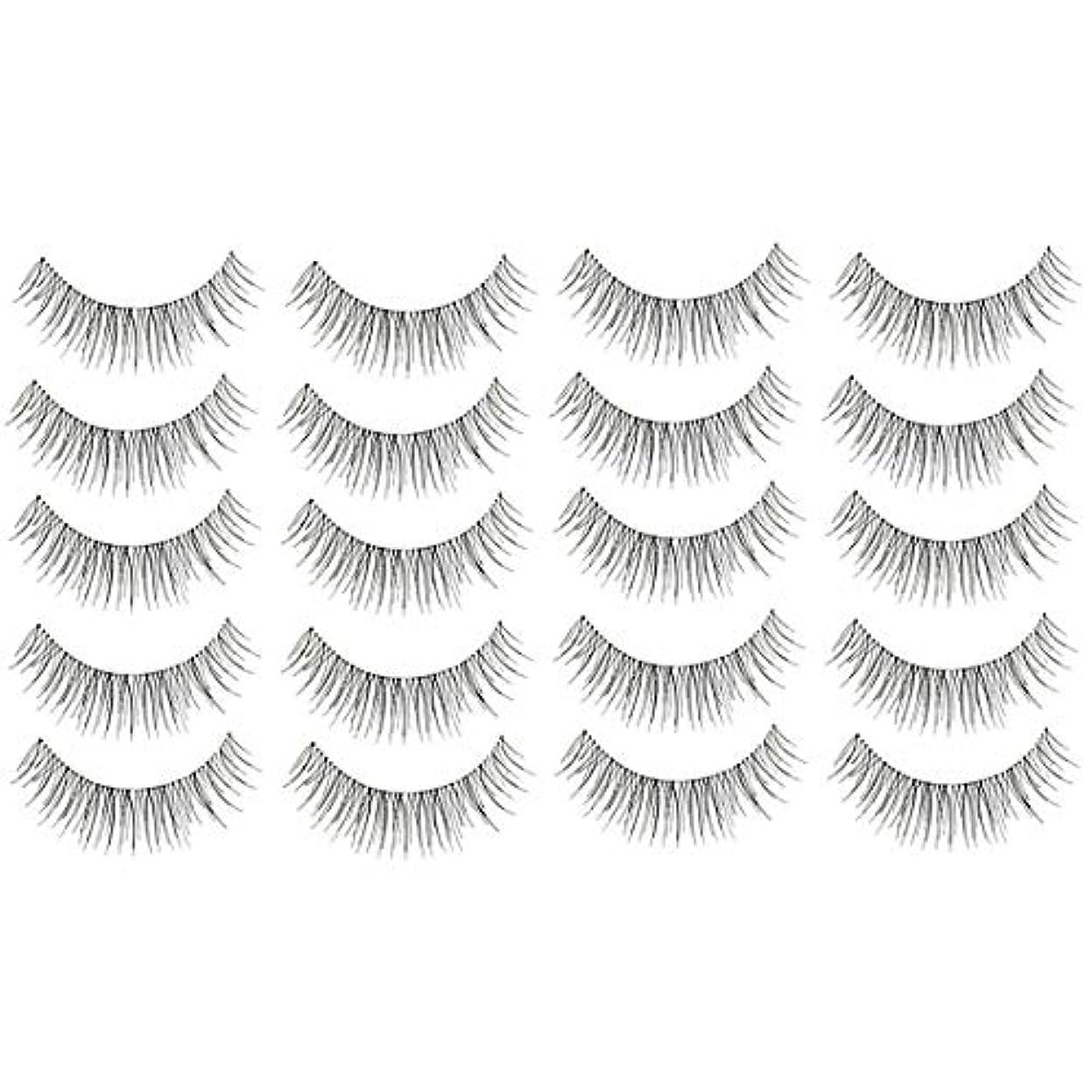 木曜日分類振りかける美容アクセサリー 10ペア217クリスクロス透明なステムナチュラルメイクアップラッシュチャーミングな長いシックな黒い偽のまつげ 写真美容アクセサリー