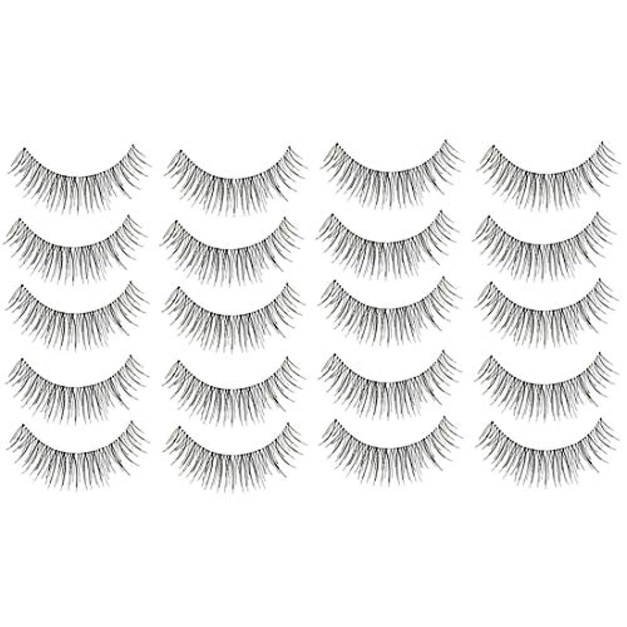 美容アクセサリー 10ペア218クリスクロス透明なステムナチュラルメイク授乳魅力的な長いシックな黒い偽のまつげ 写真美容アクセサリー