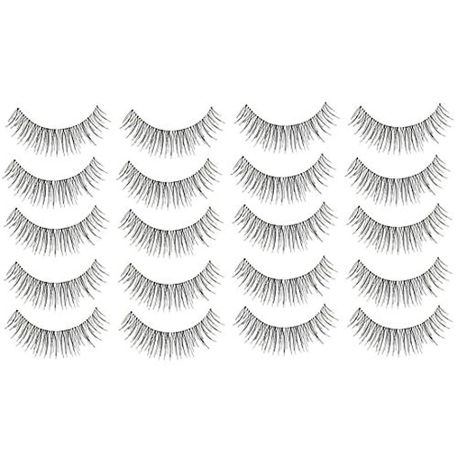 美容アクセサリー 10ペア217クリスクロス透明なステムナチュラルメイクアップラッシュチャーミングな長いシックな黒い偽のまつげ 写真美容アクセサリー