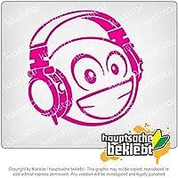 スマイリーsmilieヘッドフォン Smiley smilie with headphone 10cm x 10cm 15色 - ネオン+クロム! ステッカービニールオートバイ