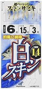 ハヤブサ(Hayabusa) これ一番 白スキンサビキ 6本鈎 3-0.6 HS711-3-0.6