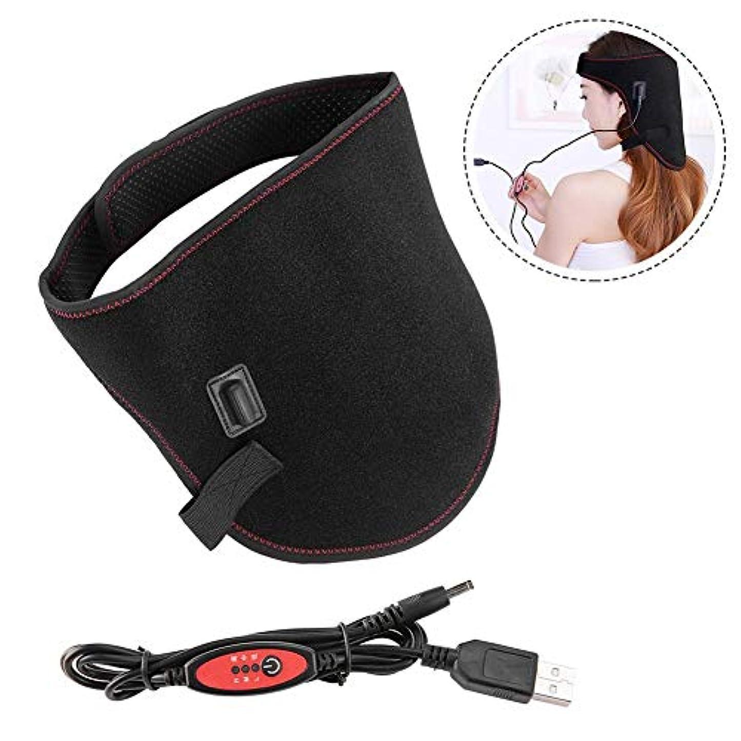 単なる限界発症加熱ネックベルト、usbネオプレン電気赤外線温度制御加熱熱い圧縮ヘッド保護ラップにケア頭痛ホームオフィスの使用