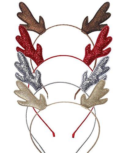 [해외]Kinzd 크리스마스 머리 장식 순록 뿔 헤어 액세서리 파티 4 케 셋토 도구 소품 (화려한)/Kinzd Christmas Hair Accessories Reindeer Horn Accessories Party 4 Cassette Tool Accessories (Colorful)