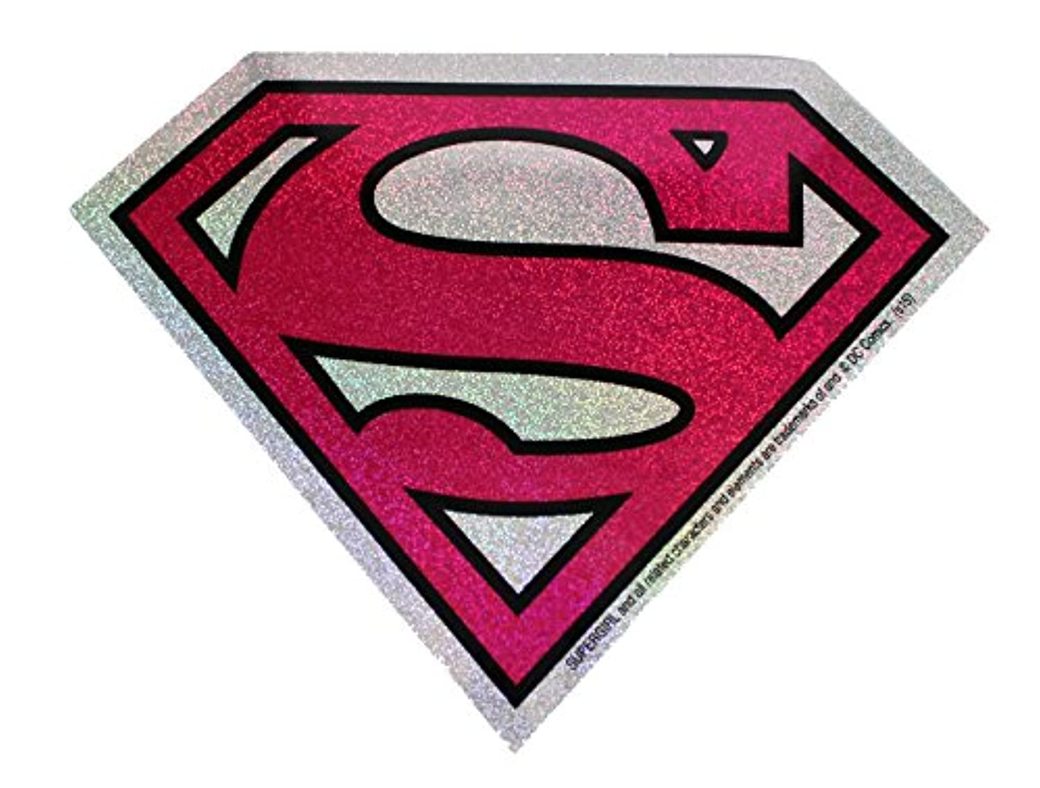 C & D Visionary DC Comics Superman Super Girl Logo Glitter Sticker