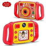DROGRACE【進化版】子供用カメラ 自撮り可 録画可 4倍ズーム HD1080P タイムド写真 2インチ 40種類フォトフレーム 子供プレゼント 日本語説明書 レッド