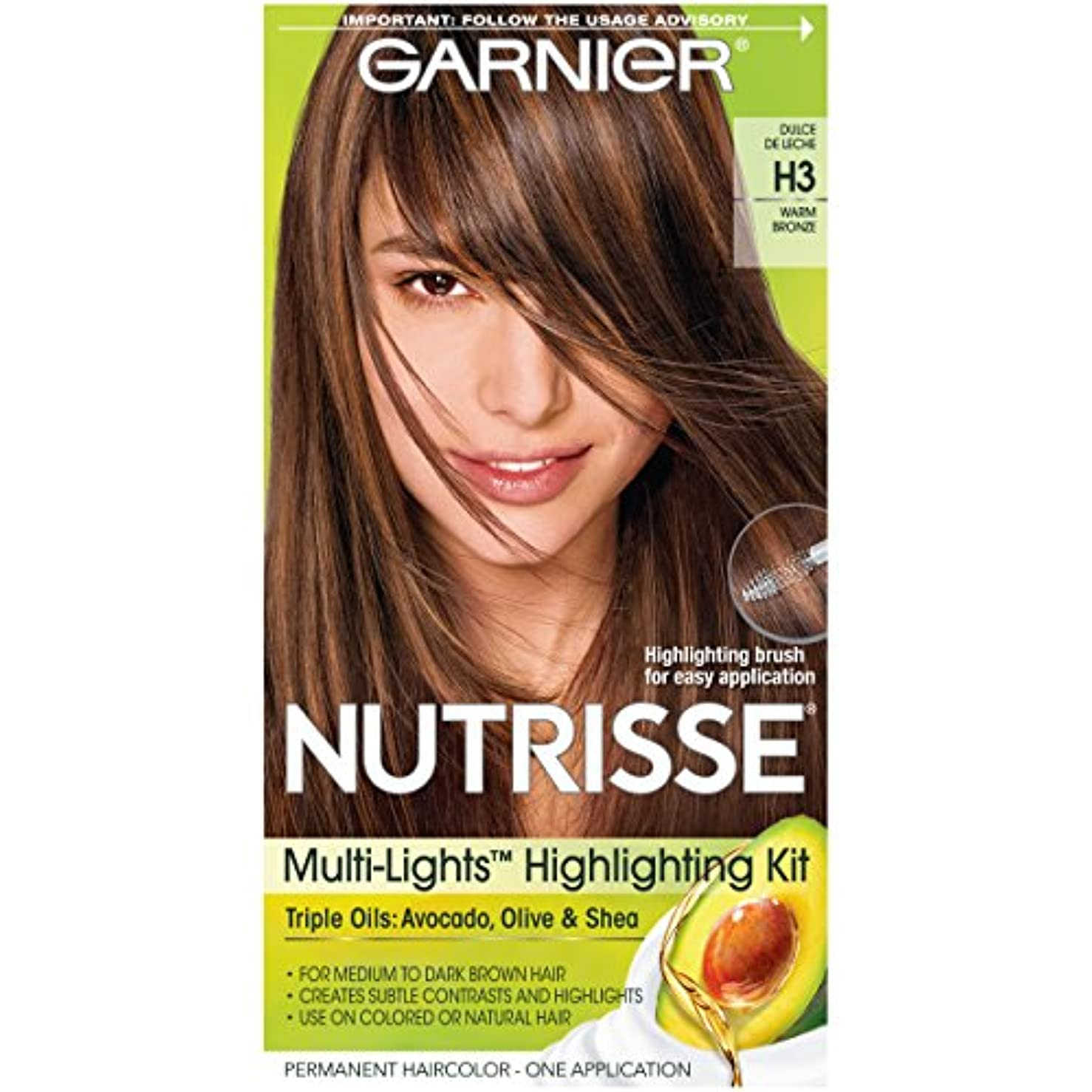 シェル感謝している報酬Garnier Nutrisseナリシングヘアカラークリーム、H3ウォームブロンズ(梱包が変更になる場合があります)