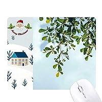 緑の葉の青い空 サンタクロース家屋ゴムのマウスパッド