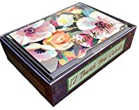 Punch Studio Boxed Set of 12Thank You空白ノートカード、Painted Flowers 12267