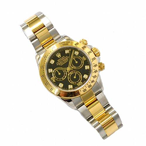 ロレックス ROLEX デイトナ コスモグラフ ダイヤモンド コンビ 腕時計 D番 2004年 AT 自動巻 ブラック文字盤 黒 メンズ 116523G 中古