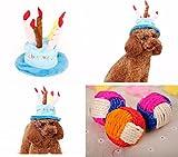 【MM-85】 ペットのお誕生日 バースデー ハット 帽子 小型犬 中型犬 猫 パーティー イベント & 天然麻ボール (ブルー)