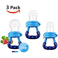 Baby Food Feeder 3 Pack Fruit Food Silicone Nipple Teething Toy Reusable Aching Gums PacifierBlue [並行輸入品]