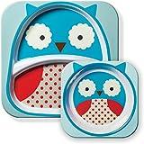 Skip Hop Zoo Melamine Plate and Bowl Set,Owl