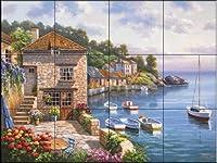 """セラミックタイル壁画–Harbor Garden–by Sung Kim–キッチンBacksplash /バスルームシャワー 24 Tile Mural on 4 1/4"""" Tile 15-1861-2517-4C"""