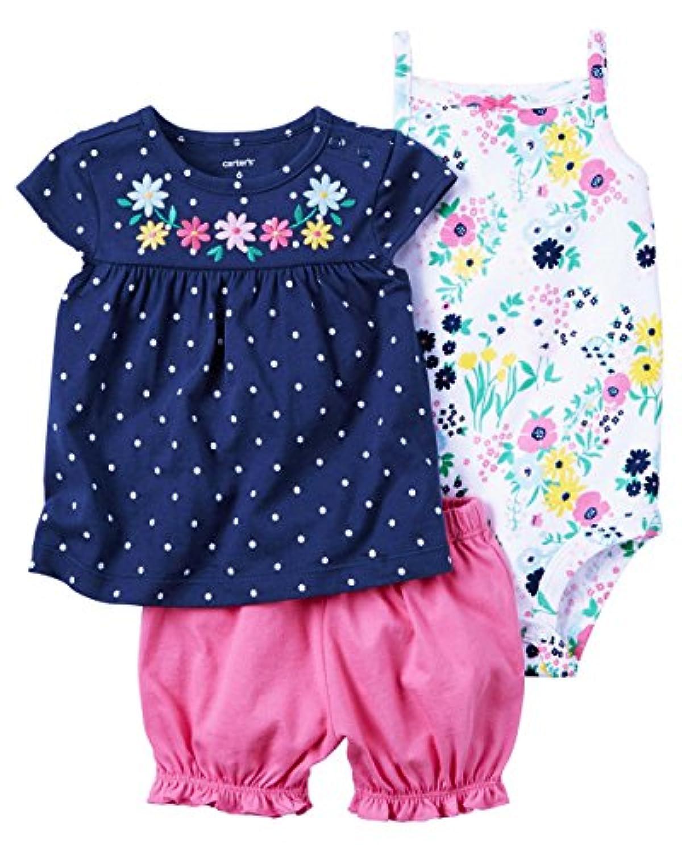 カーターズ Carter's 最新作 ボディスーツ パンツ Tシャツ 3点セット 女の子 ベビー服 ネイビー ドット フラワー (6months(61-67cm)) [並行輸入品]
