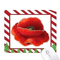 赤い花の絵画芸術コーンポピー ゴムクリスマスキャンディマウスパッド