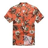パーム ウェイブ(Palm Wave) メンズ ハワイアン シャツ アロハシャツ XLサイズ オレンジ地ハイビスカス柄 (インポート)