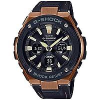 [カシオ]CASIO G-SHOCK Gショック ジーショック メンズ G-STEEL タフソーラー マルチバンド6 アナログ デジタル アナデジ ローズゴールド ブラック レザー革 20気圧防水 海外モデル GST-W120L-1A 腕時計[並行輸入品]