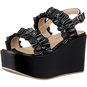 [ウィゴー] レディースファッションサンダル フリル厚底サンダル ブラック 24.5~25.0 cm