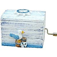 地中海スタイル手クランク木製音楽ボックスとしてギフトStocking Stuffer for KidまたはLover ブルー GO11HG0014