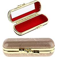Blesiya PU Leather Elegant Ladies Lipstick Case with Mirror Purse Lip Stick Holder - Set of 2