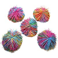 ふさふさラバーボール 5個セット キーホルダー ストレスボール
