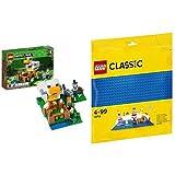 レゴ(LEGO) マインクラフト ニワトリ小屋 21140 & クラシック 基礎板(ブルー) 10714