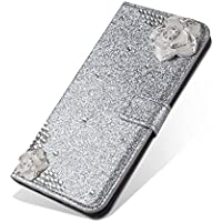 PUレザーケースカバーHuawei P8 Lite 2017、SevenPandaのラグジュアリーブリンダイヤモンドキラキラクリスタルラインストーン 3D DIYの椿花柄宝石プレミアム磁気フリップフォリオスタンド耐衝撃保護カードスロットホルダースタンドカバーのための光沢のあるフルボディの携帯電話ケHuawei HUAWEI P8 Lite 2017 - シルバー