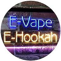 E-Hookah Cigs Décor Dual LED看板 ネオンプレート サイン 標識 Blue & Yellow 400 x 300 mm st6s43-i3105-by