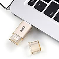 iPhone iPad Mac USBフラッシュドライブpen-drive USB 3.0アダプタwith Lightning Connector for iOS Windows、Mac dteens外部ストレージメモリステッカー D17-003