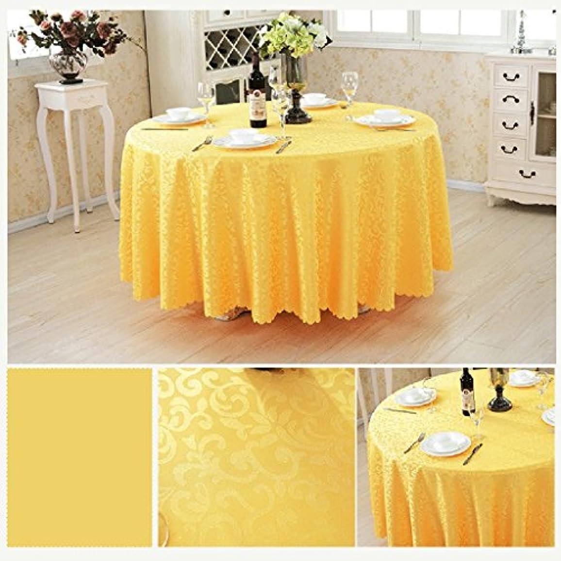 考古学者加入櫛HAPzfsp テーブルクロス ラウンド化学繊維テーブルクロスヨーロッパスタイルのコーヒーテーブルレストランホテルテーブルクロス幾何学模様様々なサイズ様々な色(62インチ/ 160 cm-125インチ/ 320 cm) パティオ、キッチン、ダイニングルーム、ダイニングテーブル、ホテル (Color : Yellow, Size : Round 200cm)
