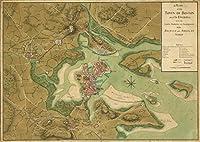 Historicマップ| 1776の計画の町のボストンとそのEnvirons、with the線、電池、イギリスとアメリカのincampments Armies |アンティークヴィンテージReproduction 62in x 44in 5122783_6244