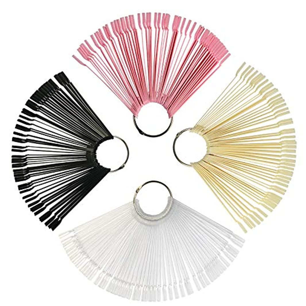 焦がすバス服ネイルカラーチャート KAKOO スティック式 200枚 4色(透明?ブラック?ピンク?ナチュラルカラー) 4個リング付属 偽ネイル 練習用 ネイルアート チップ クリア カラーチャートサンプル 見本カラーチャート