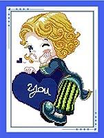 LovetheFamily クロスステッチキット 日本語解説書 DIY 手作り刺繍キット 正確な図柄印刷クロスステッチ 家庭刺繍装飾品 11CT ( インチ当たり11個の小さな格子)中程度の格子 刺しゅうキット フレームがない ホーム オフィス装飾 手芸・手工芸 キット、芸術、工芸、DIY 手作り 家庭装飾品