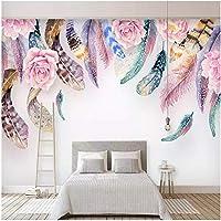 Xbwy カスタム写真の壁紙現代の手描きの羽の壁画ファッション北欧スタイルのリビングルームの寝室の背景-120X100Cm