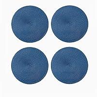 デスクトップを保護する ラウンドpvc placemat、コーヒーカップマットフラワーポットマットリビングルームの装飾マット寝室のテーブルマット簡単に滑り止め滑り止めマット 多機能 (Color : Blue, Size : 38*38CM)