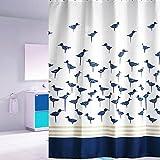 S-ZONE®  可愛い 鳥 シャワーカーテン ユニットバス バスルーム PET ポリエステル 風呂カーテン 防水防カビ加工 12 カーテンリング付属 180×180cm 間仕切り 取付簡単!