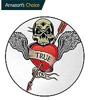 タトゥー ズラウンドカーペットホームエリアラグリビングルームフロアヨガマット 真の愛のバレンタインプリントフロアマット ハイキング 赤白と黒の血のシンボルの頭蓋骨の心と天使の翼(直径-130cm)