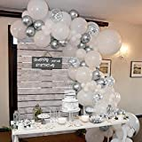 70 Pcs Silver and White Balloons, Silver Confetti Balloons, White and Silver Metallic Chrome Latex Balloons for Birthday Part