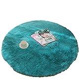 [XINXIKEJI]円形マット 玄関 マット 屋内 室内 カーペット ラグマット 泥落しマット 洗える  滑り止め ふわふわ 地味 可愛い 直径160cm ブルー