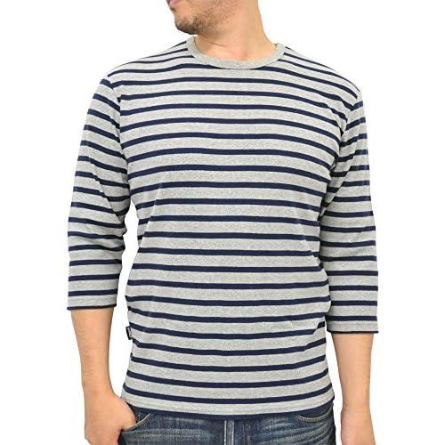 (アヴィレックス) AVIREX クルーネック 7分袖 ボーダー Tシャツ メンズ S ミディアムグレー