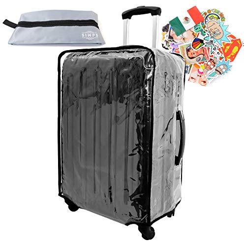 3dbbf344d2 【SIMPS】スーツケースカバー キャリーカバー 防水 透明 クリア 簡単装着 28 インチ 幅広く