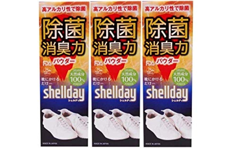 間違い札入れ参加者シェルデイ 靴消臭パウダー 大容量 80g ×3 お得用 靴消臭 足の臭い対策消臭剤 100%天然素材