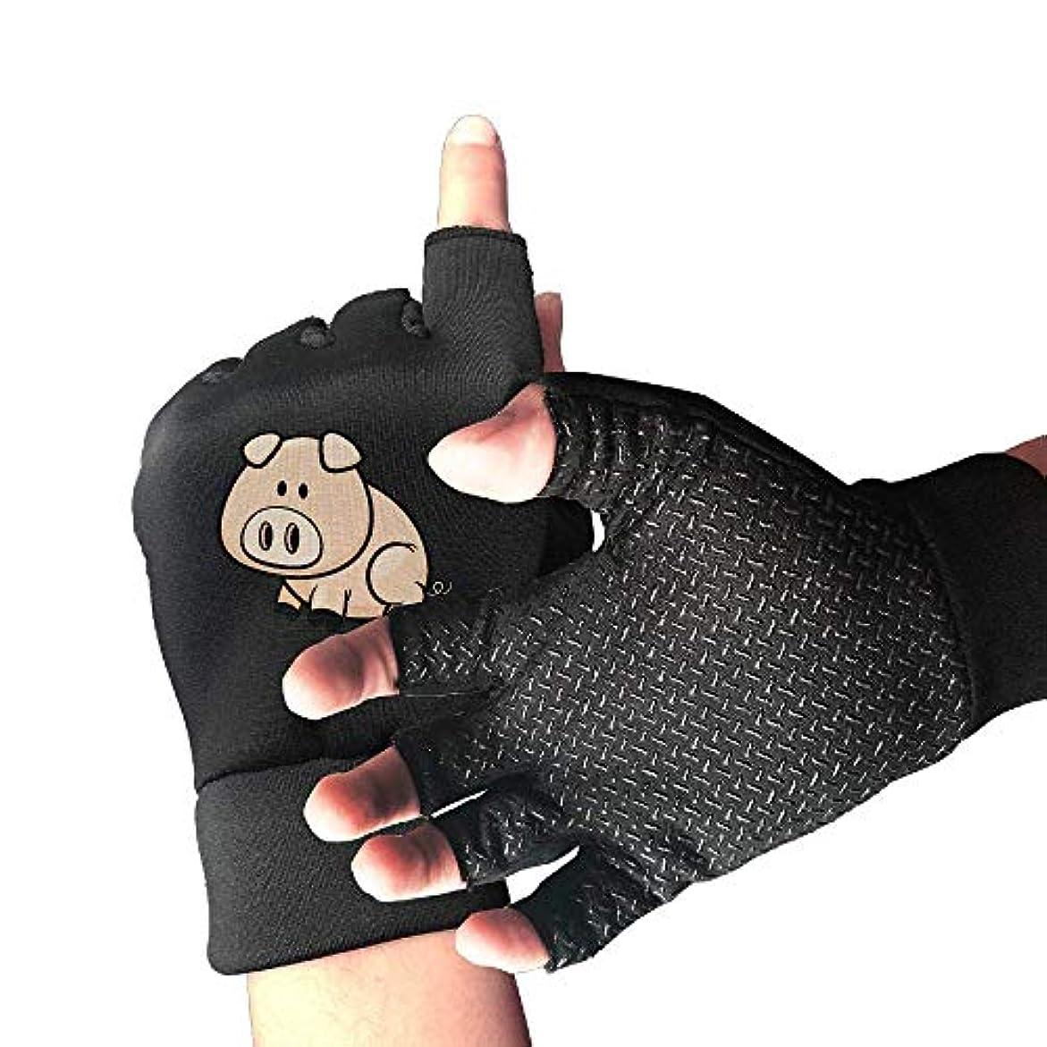 スパイサスペンション襟サイクリング手袋手描き漫画豚男性/女性のマウンテンバイクの手袋ハーフフィンガースリップ防止オートバイの手袋