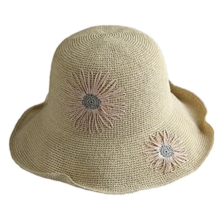 女性フロッピーサンハット - 最も人気のある夏の草の帽子ファッション折りたたみ式の休暇バイザーの帽子 (色 : ベージュ)