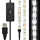 Minger USB LEDテープ ライト1.5m 3.5W 45LED昼光色 防水仕様 両面テープで好きな場所に貼り付け可能 USBケーブル ON/OFFスイッチ付き ナイトライト/ワードローブライト/寝室/押し入れ/赤ちゃん室