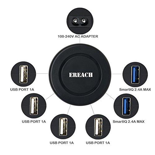 ACアダプター 6ポートUSBチャージャー 1.2mケーブル付き 急速充電器 iPhone/iPad/Xperia/Galaxy/Android各種対応 (6ポート)